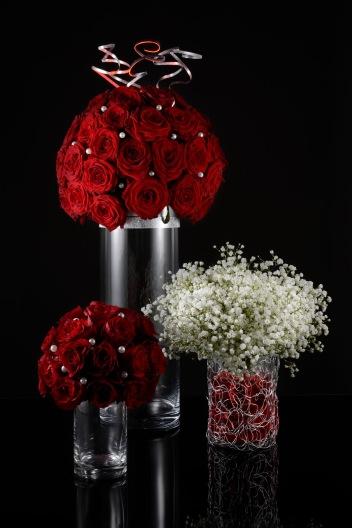 Boule roses rouges romantique