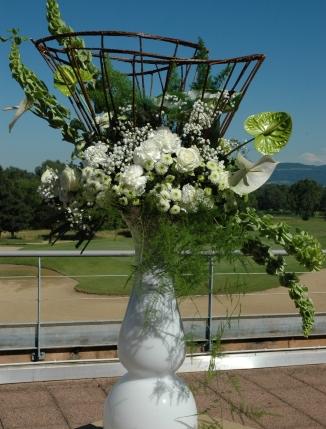 mariage vert blanc romantique elegant, rose, anthutium, osier