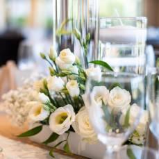 DECO DEGIO lisianthus bougie centre table vert et blanc